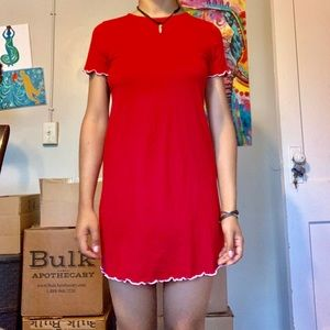 SUEDE LITTLE RED DRESS WOMENS SMALL